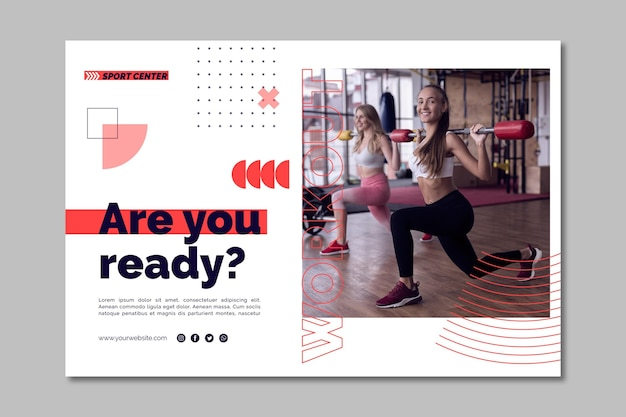 Sport center horizontal banner template with photo