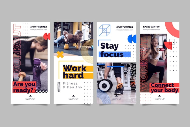 Sport center instagram stories template with photo