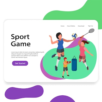 Sport centre illustration volleyball badminton landing page