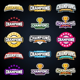 Sport champion or champions league emblem typography set