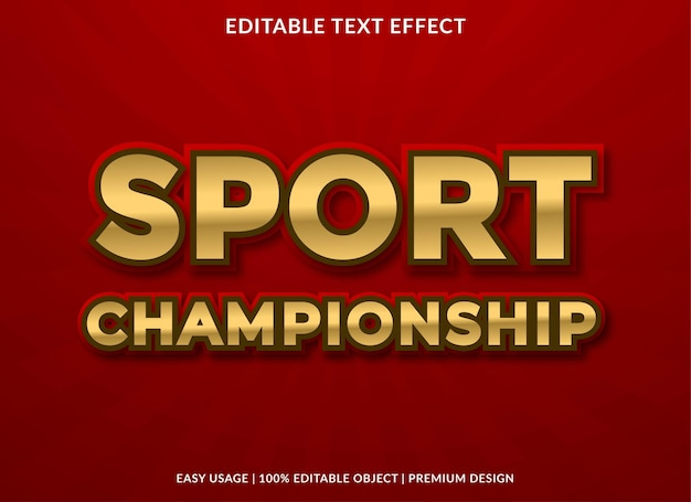 Sport championship text effect template premium style use for logo and brand
