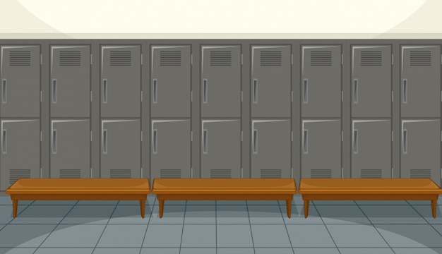 Sport changing room with locker background