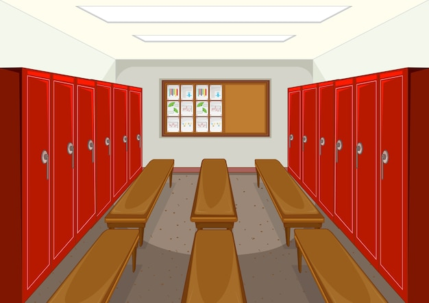 ロッカーの背景を持つスポーツ更衣室