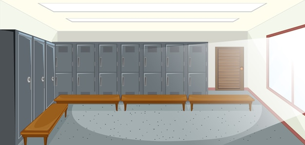 사물함이있는 스포츠 탈의실