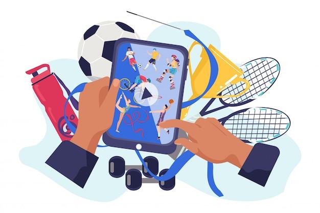장치 그림에 스포츠 채널. 인터넷 기술은 스크린 홈에서 온라인 비디오 피트니스를 방송합니다. 디지털 전화 프로그램, 현대 엔터테인먼트, 커뮤니케이션 개념에 대한 운동 활동.