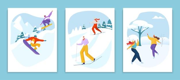 スポーツキャラクター男女人冬の身体活動