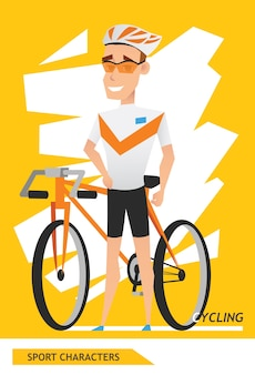 Sport characters cycling player