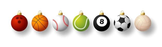 스포츠 크리스마스 볼 세트입니다. 스포츠 야구, 농구, 축구, 테니스, 크리켓, 축구, 배구, 볼링, 당구공이 있는 크리스마스 세트는 실에 매달려 있습니다. 벡터 일러스트 레이 션.