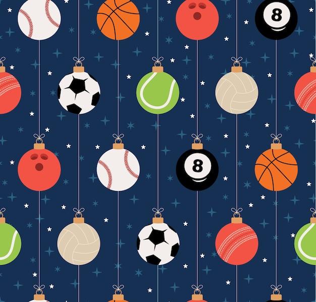 スポーツクリスマスのシームレスなパターン。スポーツ野球、バスケットボール、サッカー、テニス、クリケット、サッカー、バレーボール、ボウリング、ビリヤードボールのクリスマスパターン