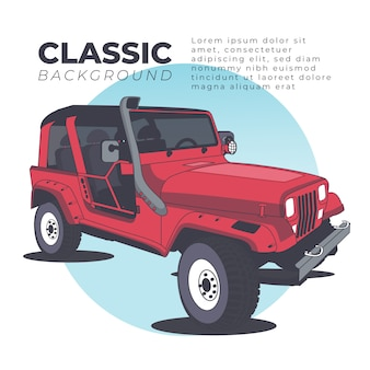 Sport classic car background with jeep
