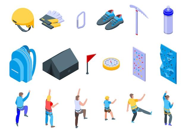 Sport climbing icons set