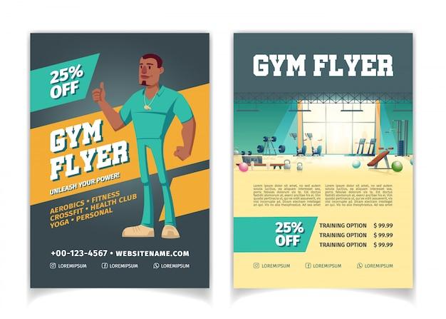 Спортивный клуб, фитнес-центр, бодибилдинг тренажерный зал мультфильм цены, скидки рекламный флаер страниц шаблона.
