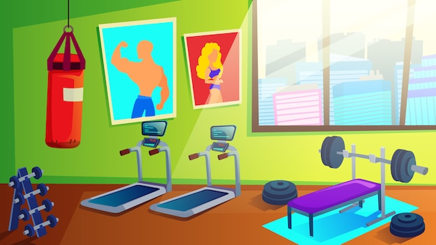 Sport club gym interior with fitness equipment