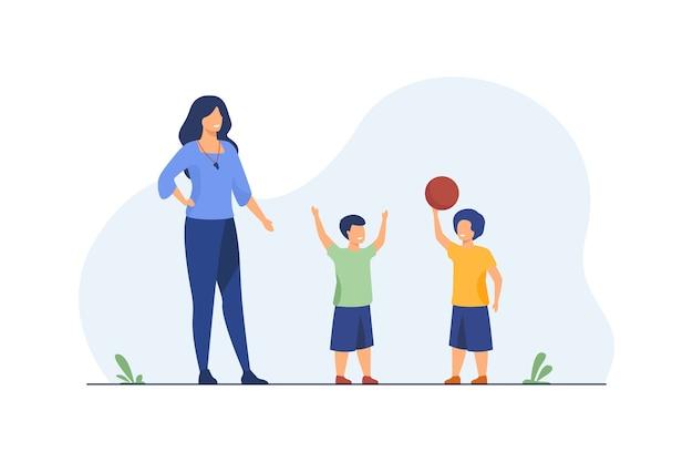 공 놀이하는 아이에 서있는 스포츠 코치. 교사, 트레이너, 강사 평면 벡터 일러스트 레이 션. 체육, 농구, 학교 활동