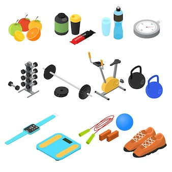 Sport color set isometric view fitness gym and healthy food concept.