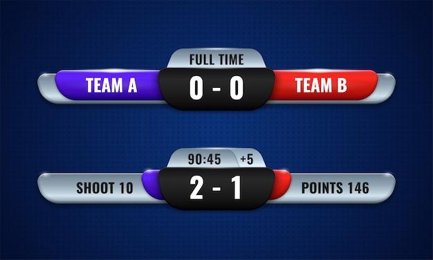 Табло спортивных соревнований современный векторный дизайн для нижней трети транслируемого графического шаблона