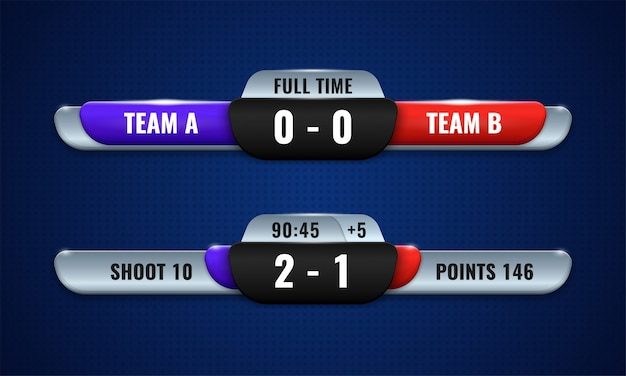 Sport competition scoreboard modern vector design for lower third broadcast graphic template