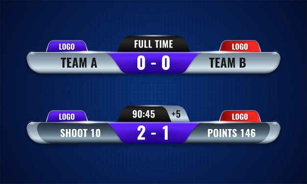 Sport competition scoreboard modern vector design for lower third television broadcast graphic template