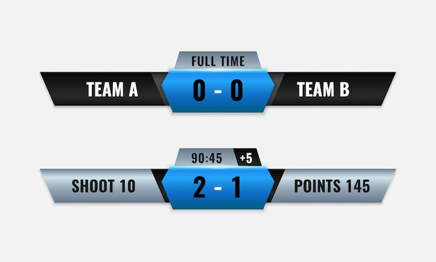 Sport competition scoreboard vector design for lower third television broadcast graphic template