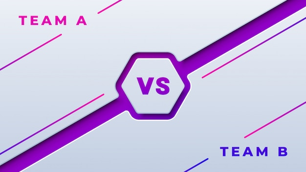Sport competition versus on white and purple background