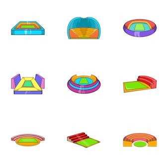 Sport complex set, cartoon style