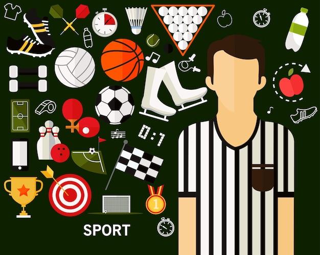 スポーツコンセプト背景。フラットアイコン。