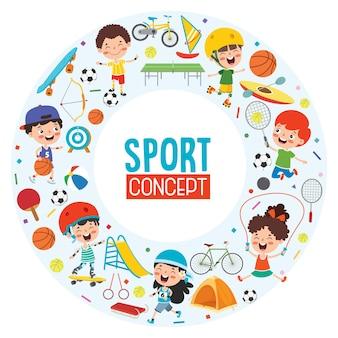 面白い子供たちとのスポーツコンセプトデザイン