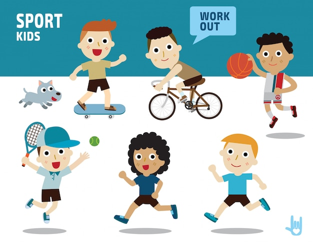 Sport concept. kids diverse of costume and action poses.