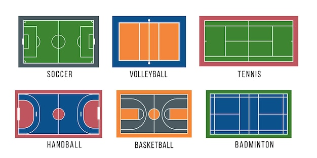 Sport court set illustration