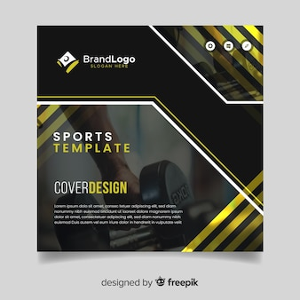 Sport cover template with photo