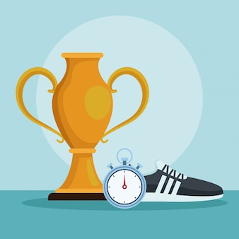 Sport cup wit shoe and timer