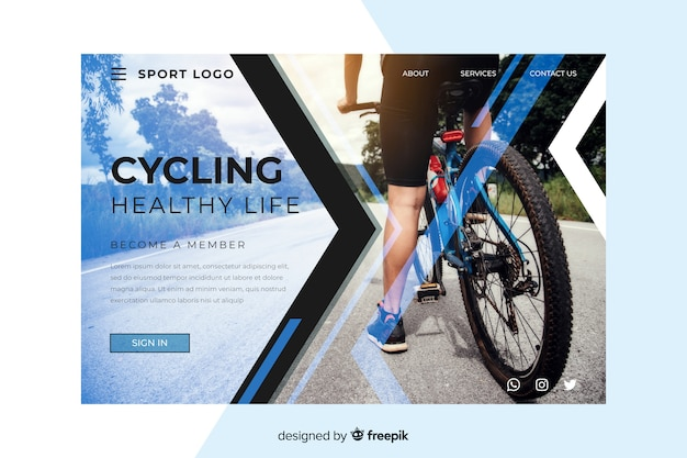 Sport cycling landing page