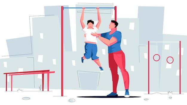 Спортивный папа держит сына и выполняет упражнения