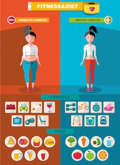 Sport and diet infographic template
