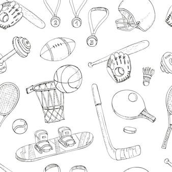 スポーツ落書きシームレスパターン