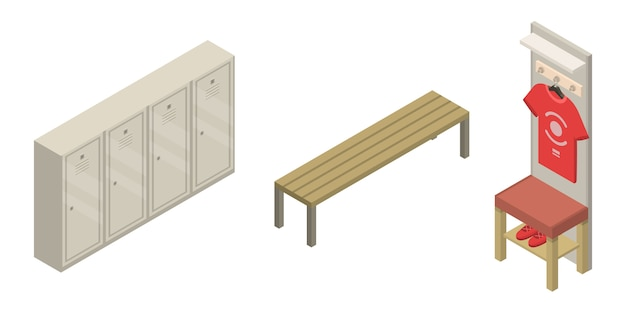 Sport dressing room icons set, isometric style