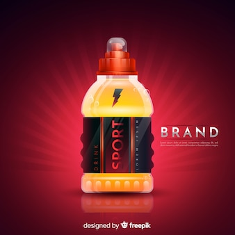 Sport drink advertisement with realistic design