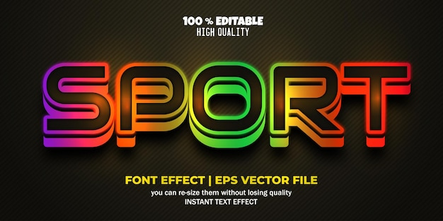 Sport editable font colorful text style template