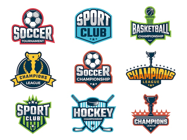 Sport emblem, super star world cup competition badges logos and sticker