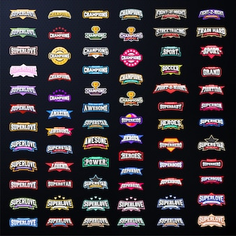 Sport emblem typography set.