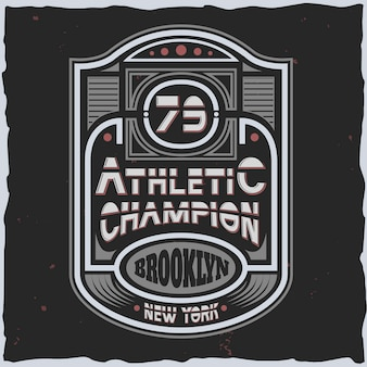 Emblema dello sport con testo di campione atletico in stile anni '80