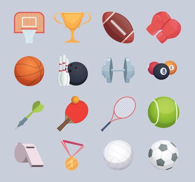 Sport equipment. balls hockey or golf stick fitness exercise equipment rackets vector cartoon illustration