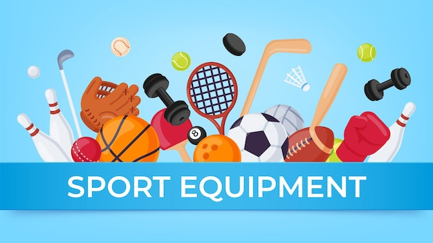 Sport equipment banner. ball games and fitness items for rugby, badminton, soccer and basketball. cartoon sports sale vector poster. sport game shop banner, soccer ball and basketball illustration