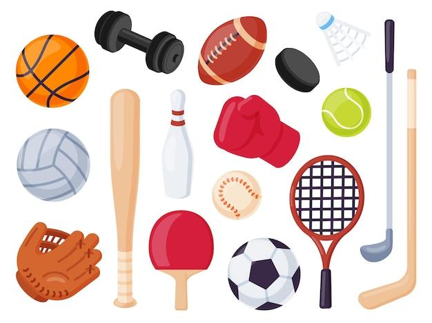 Спортивное снаряжение. мультяшные мячи и игровой предмет для хоккея, регби, бейсбола и теннисной ракетки. боулинг, бокс и гольф плоский набор векторных иконок. иллюстрация отдыха мяч для футбола и тенниса