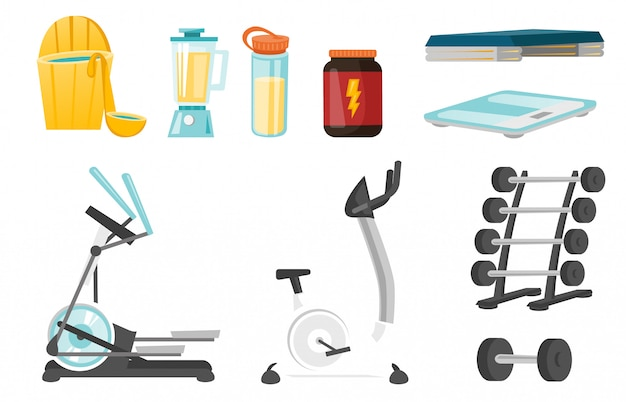 Sport equipment cartoon set
