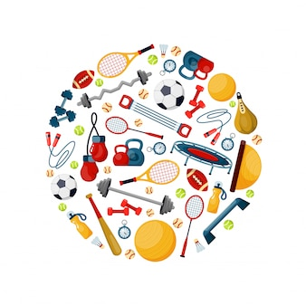 Sport equipment in circle shape flat vector illustration Premium Vector