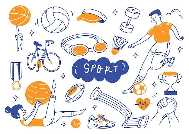 Sport equipment in doodle line art illustration