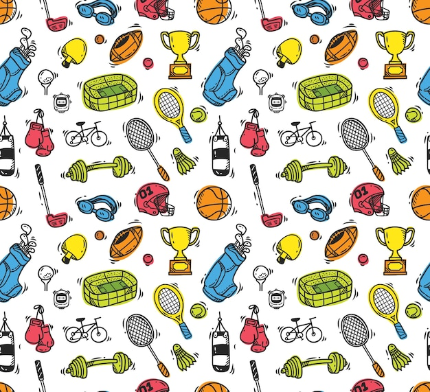 Sport equipment doodle seamless background