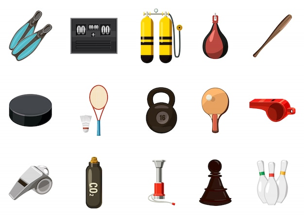 Sport equipment elements set. cartoon set of sport equipment