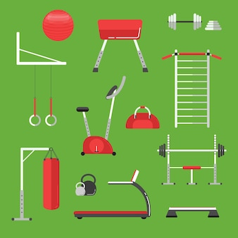 Sport equipment flat icons isolated. gym training, bodybuilding and active lifestyle, fitness equipment.